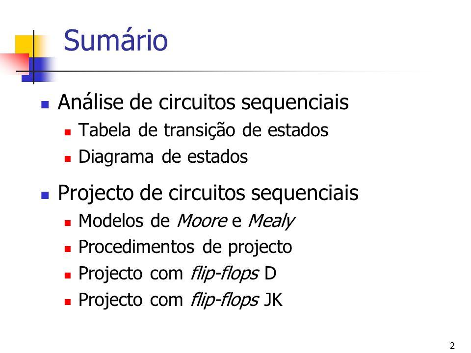 Sumário Análise de circuitos sequenciais