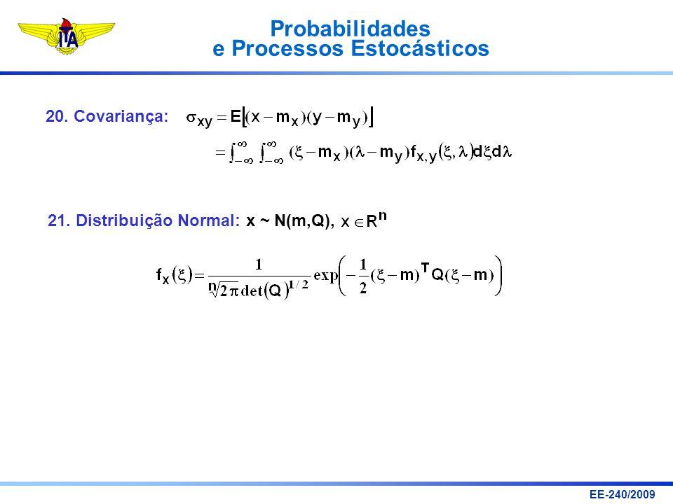 20. Covariança: 21. Distribuição Normal: x ~ N(m,Q),