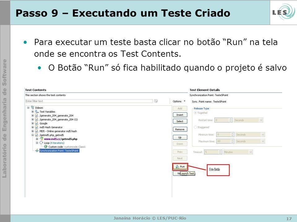 Passo 9 – Executando um Teste Criado