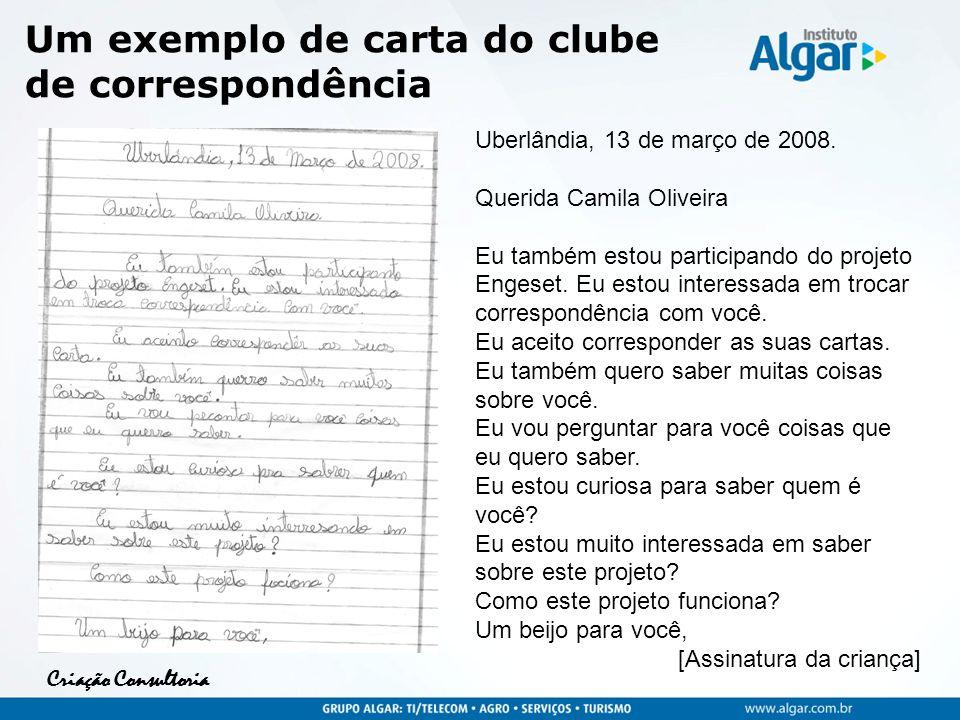 Um exemplo de carta do clube de correspondência