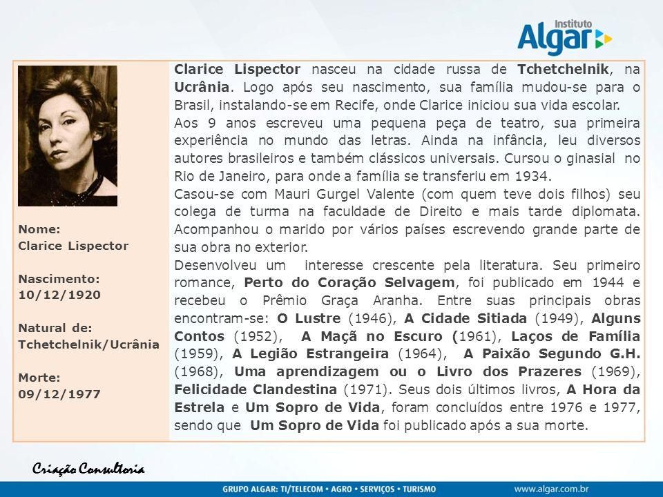 Nome: Clarice Lispector. Nascimento: 10/12/1920. Natural de: Tchetchelnik/Ucrânia. Morte: 09/12/1977.