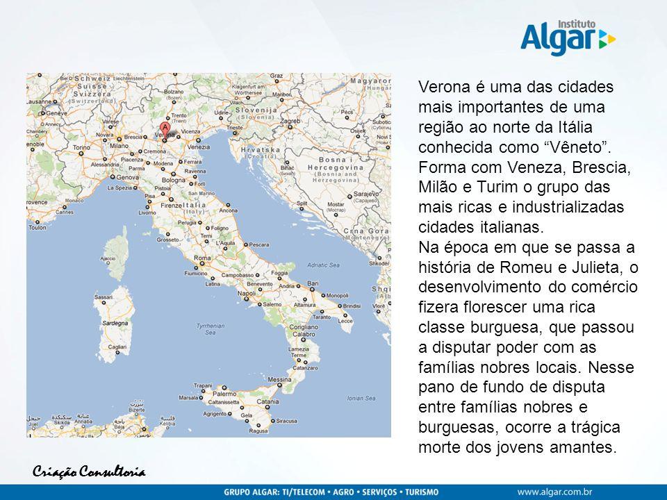 Verona é uma das cidades mais importantes de uma região ao norte da Itália conhecida como Vêneto .