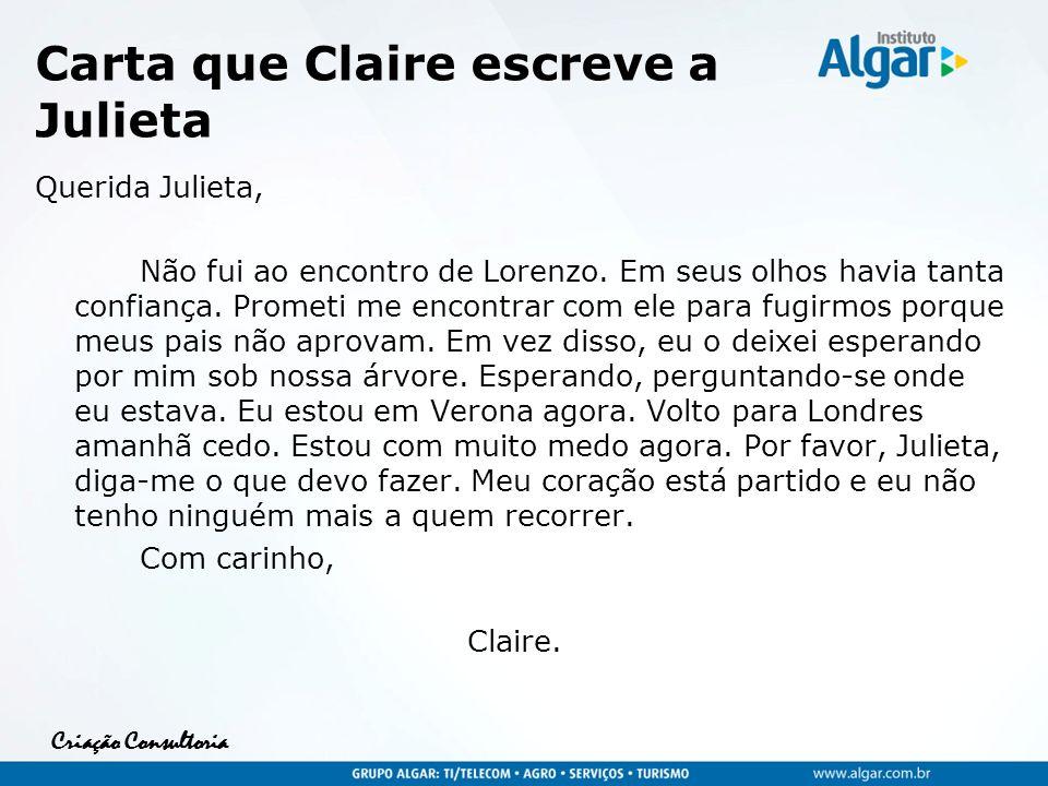 Carta que Claire escreve a Julieta