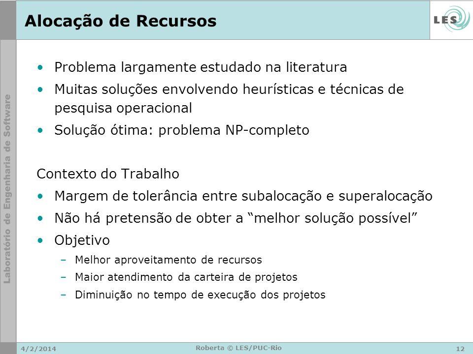 Alocação de Recursos Problema largamente estudado na literatura
