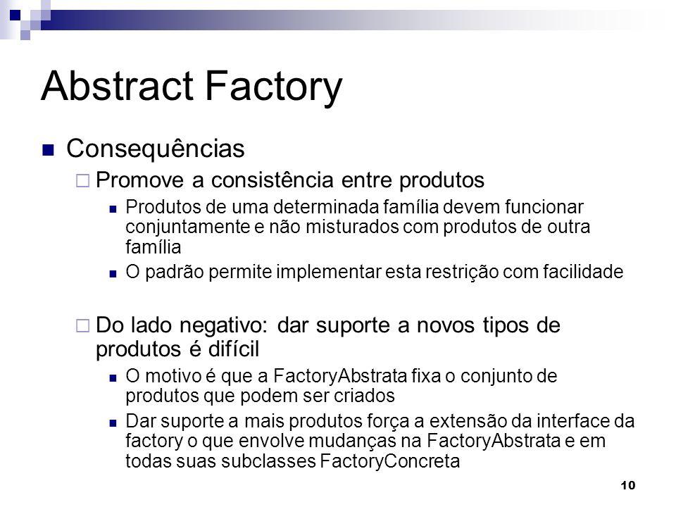 Abstract Factory Consequências Promove a consistência entre produtos