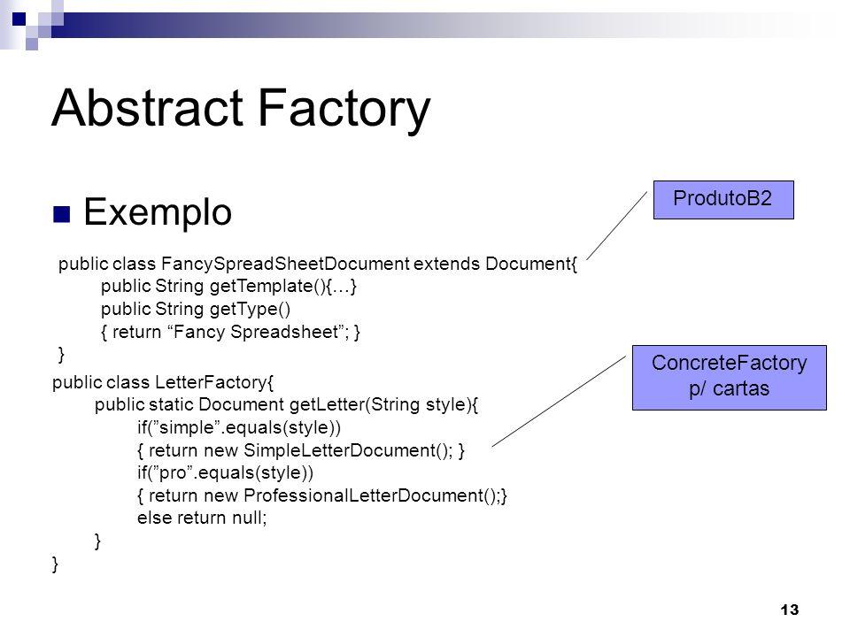 ConcreteFactory p/ cartas