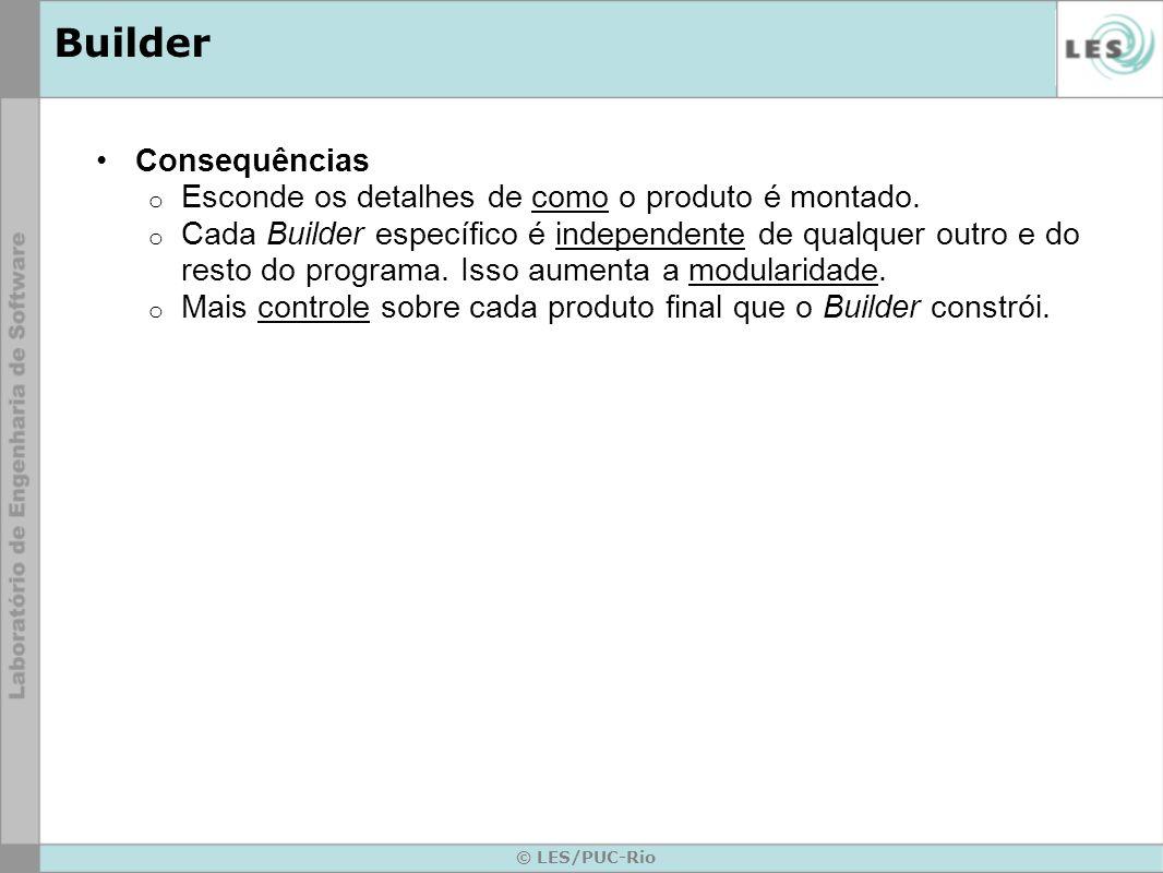 Builder Consequências Esconde os detalhes de como o produto é montado.