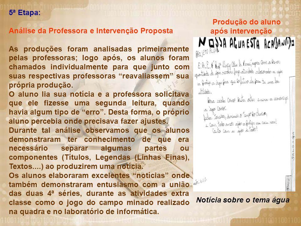 5ª Etapa: Análise da Professora e Intervenção Proposta.
