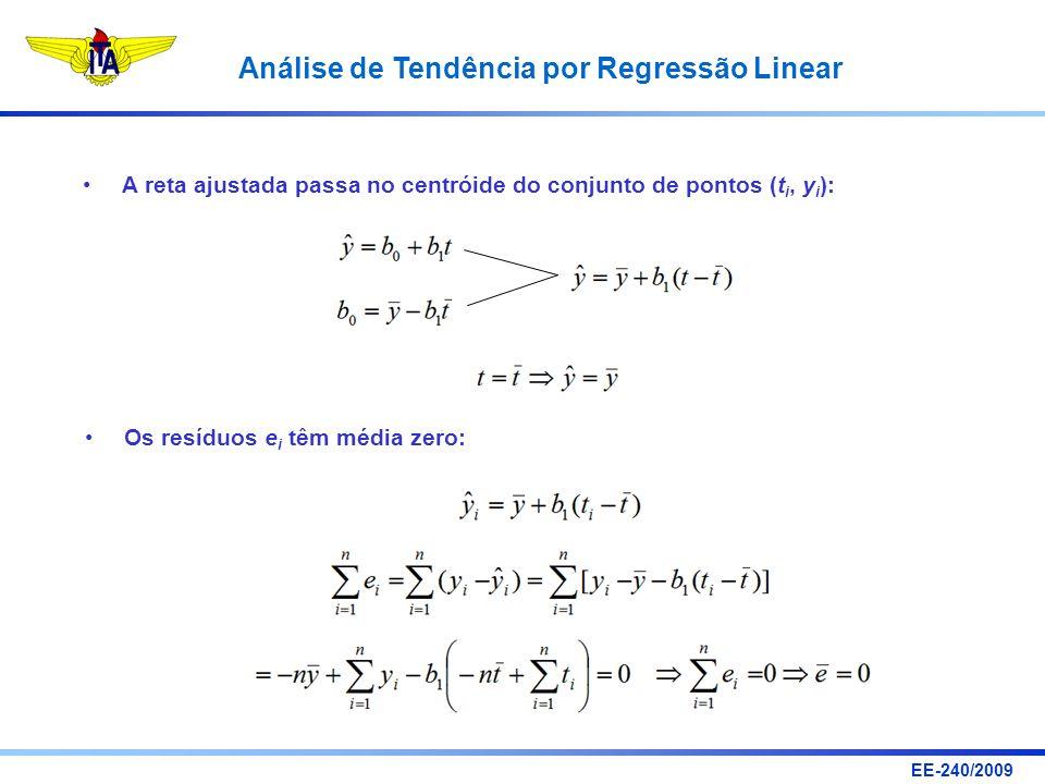A reta ajustada passa no centróide do conjunto de pontos (ti, yi):