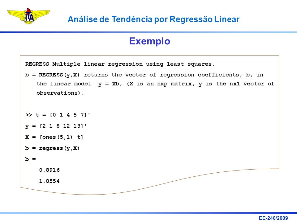 Exemplo REGRESS Multiple linear regression using least squares.