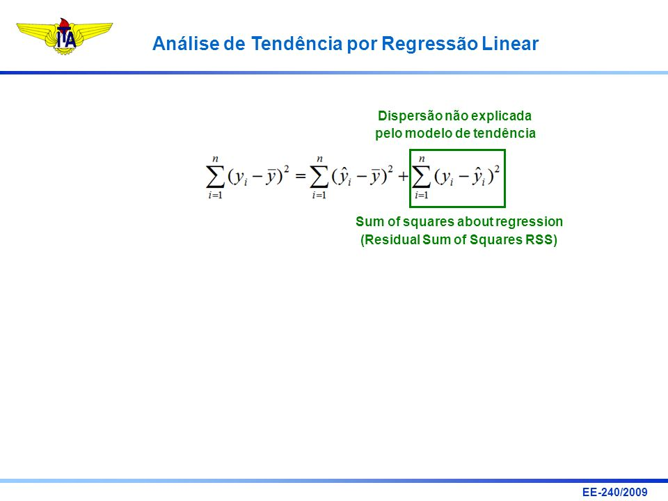 Dispersão não explicada pelo modelo de tendência