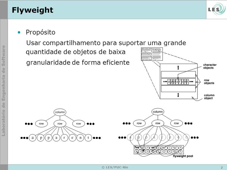 Flyweight Propósito. Usar compartilhamento para suportar uma grande quantidade de objetos de baixa.