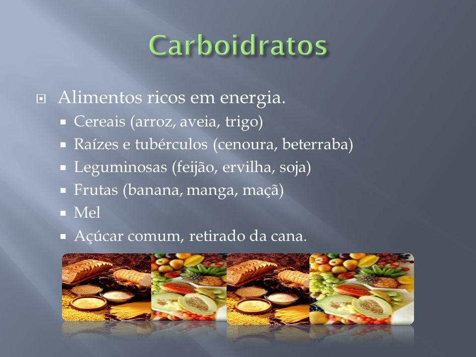 Carboidratos Alimentos ricos em energia. Cereais (arroz, aveia, trigo)