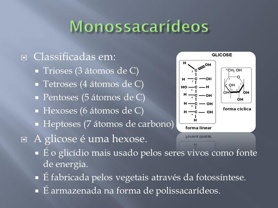 Monossacarídeos Classificadas em: A glicose é uma hexose.