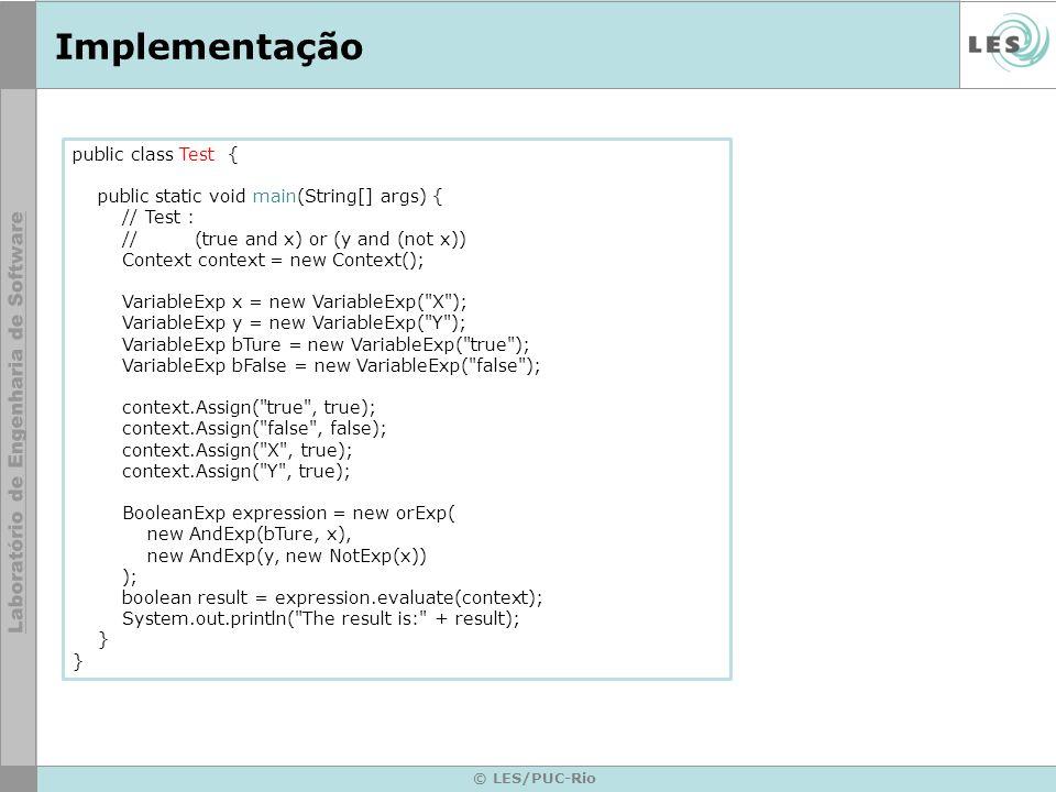 Implementação public class Test {