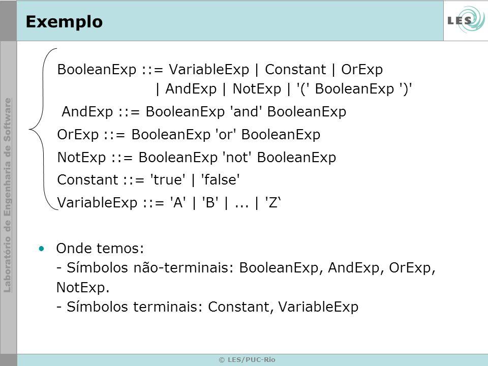 Exemplo BooleanExp ::= VariableExp | Constant | OrExp | AndExp | NotExp | ( BooleanExp )
