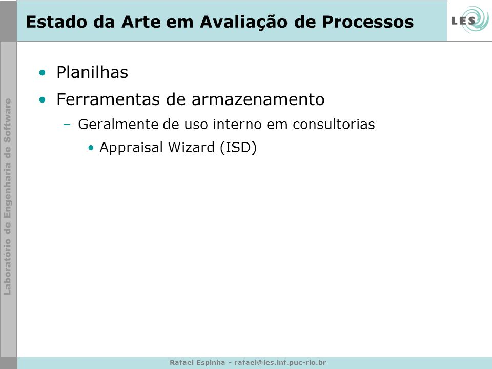 Estado da Arte em Avaliação de Processos