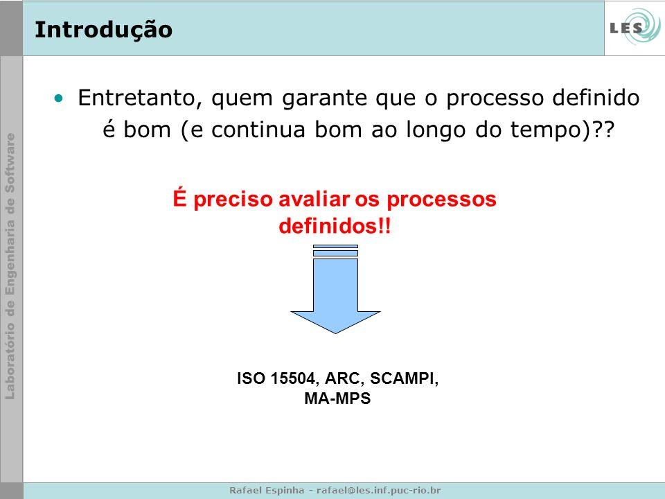É preciso avaliar os processos definidos!!