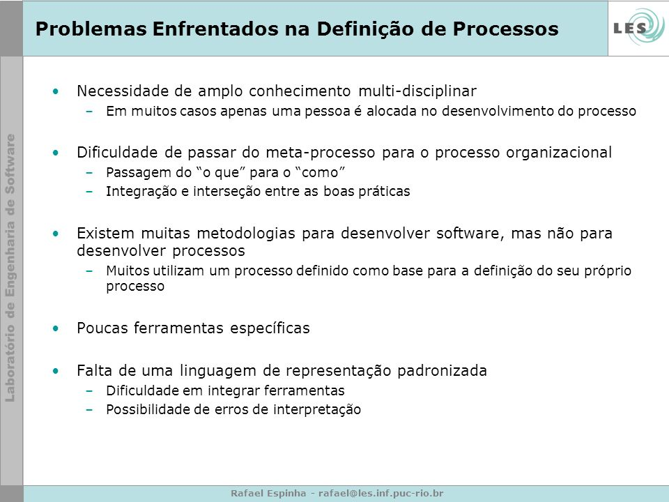 Problemas Enfrentados na Definição de Processos