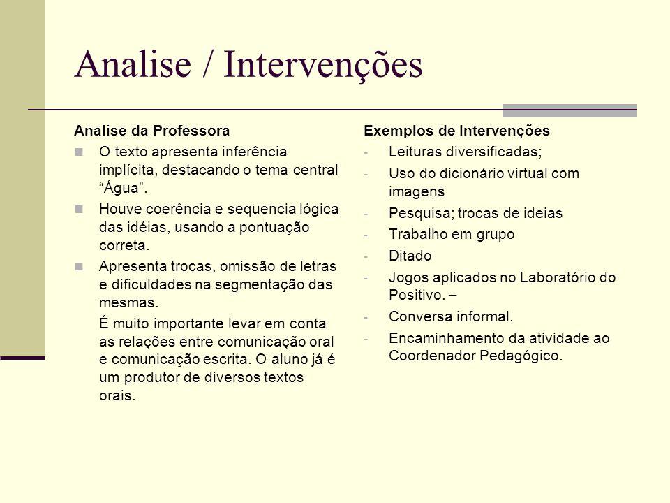 Analise / Intervenções