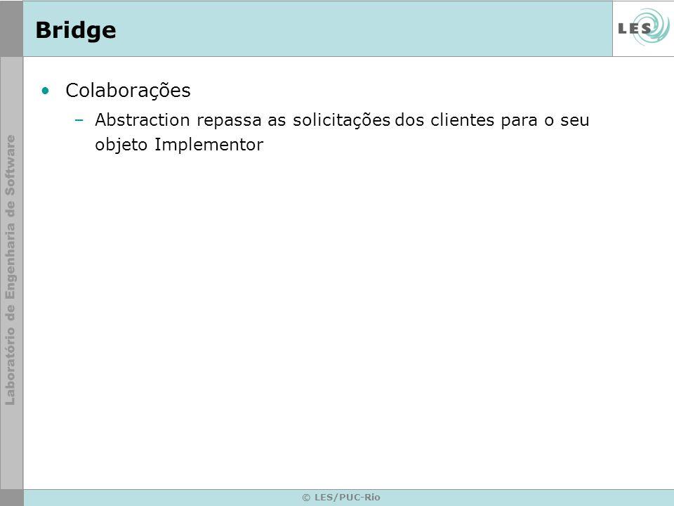 BridgeColaborações. Abstraction repassa as solicitações dos clientes para o seu objeto Implementor.