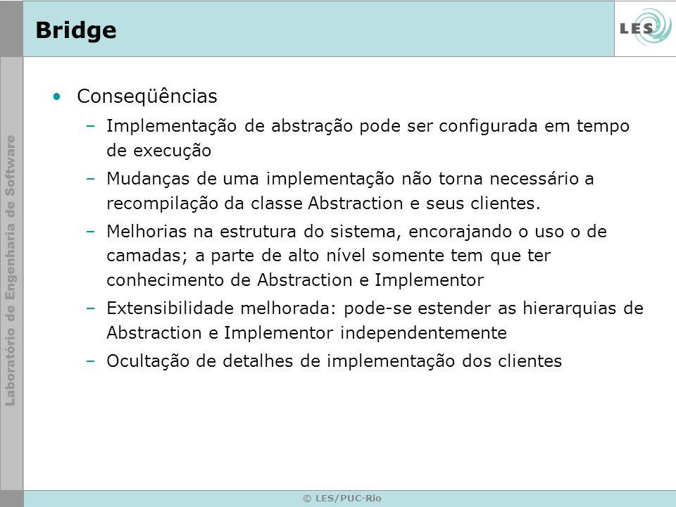 Bridge Conseqüências. Implementação de abstração pode ser configurada em tempo de execução.