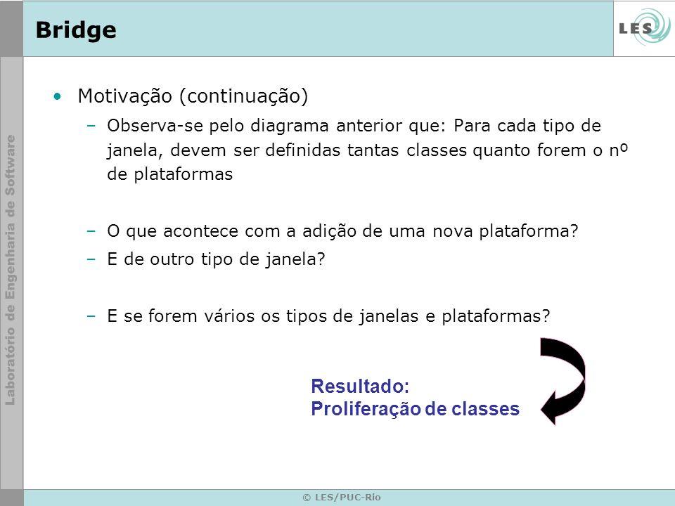 Bridge Motivação (continuação) Resultado: Proliferação de classes