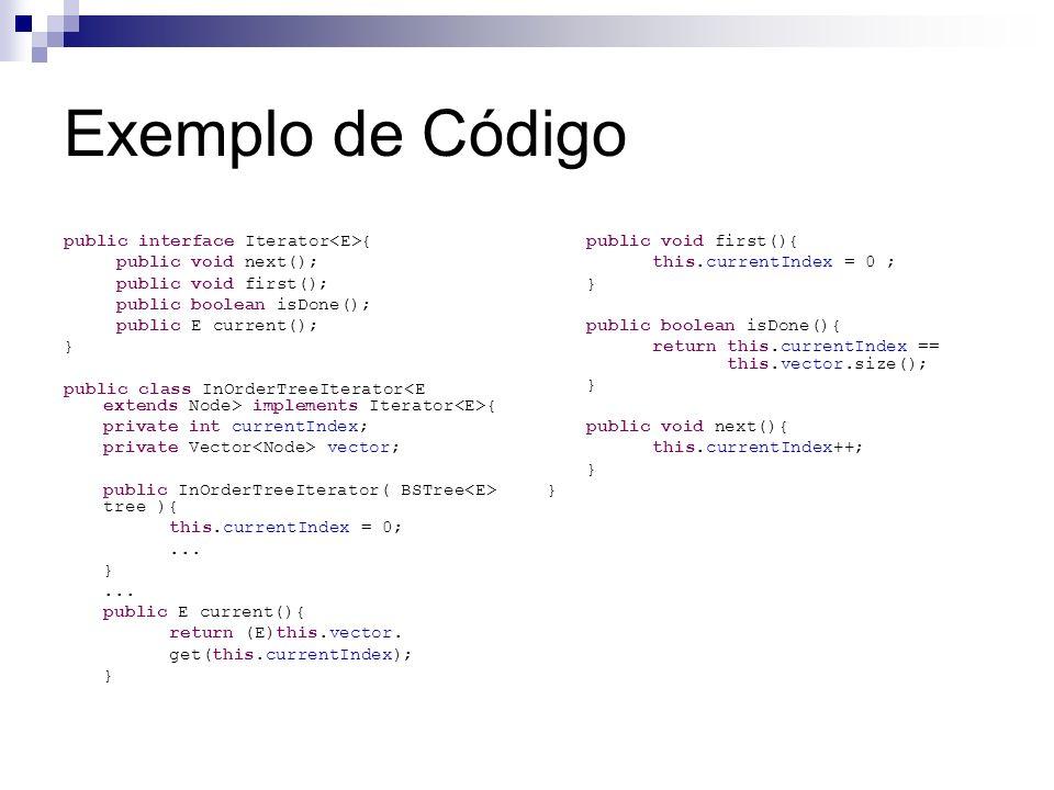 Exemplo de Código public interface Iterator<E>{