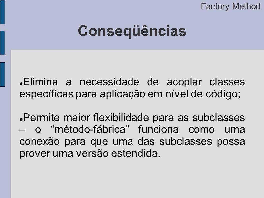 Factory Method Conseqüências. Elimina a necessidade de acoplar classes específicas para aplicação em nível de código;