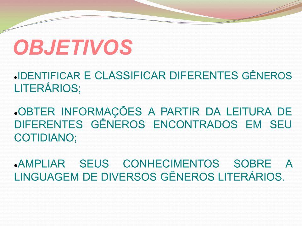 IDENTIFICAR E CLASSIFICAR DIFERENTES GÊNEROS LITERÁRIOS;