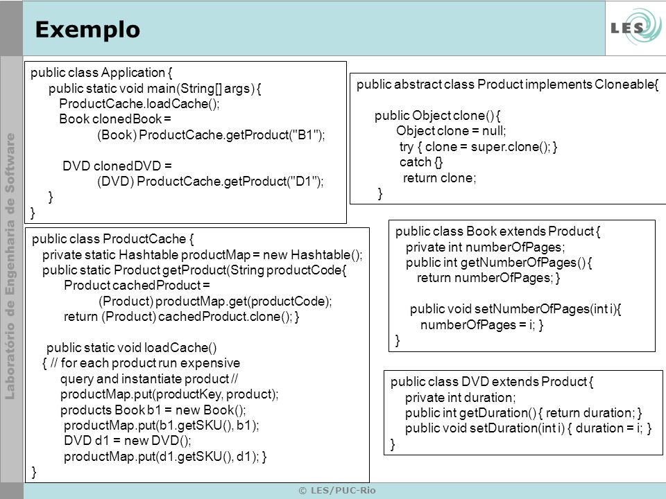 Exemplo public class Application {