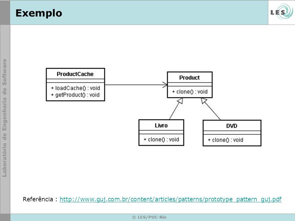 ExemploReferência : http://www.guj.com.br/content/articles/patterns/prototype_pattern_guj.pdf.