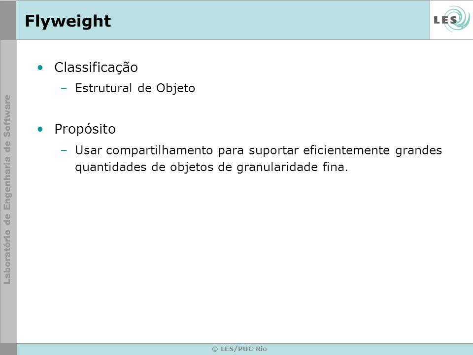 Flyweight Classificação Propósito Estrutural de Objeto