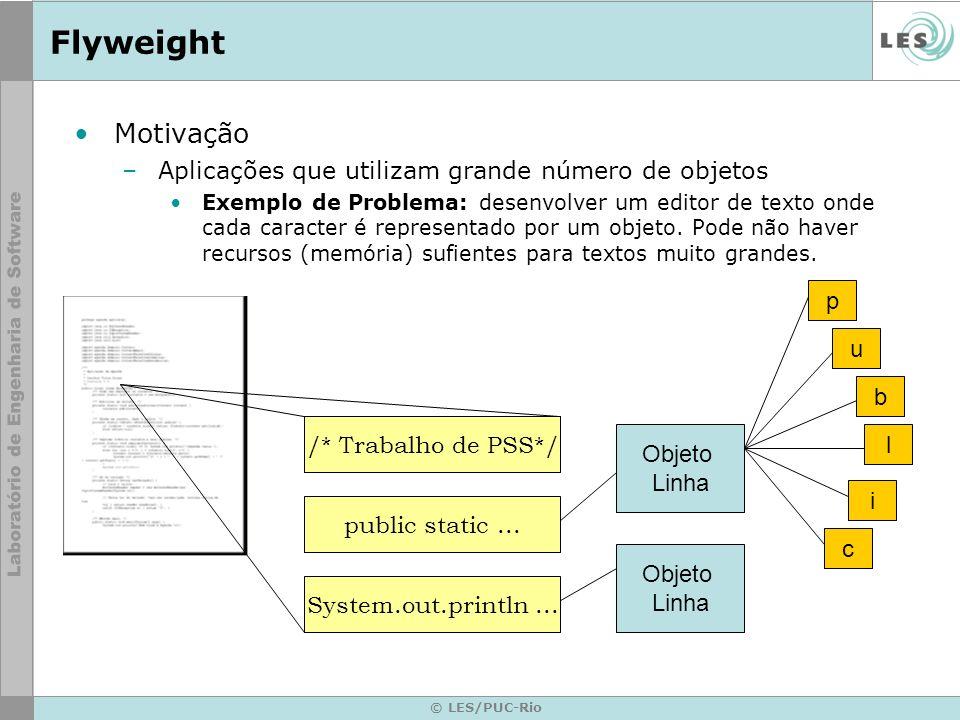 Flyweight Motivação Aplicações que utilizam grande número de objetos p