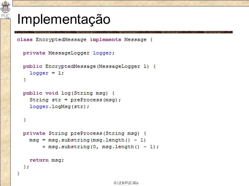 Implementação Implementor: define a interface para a implementação de classes, a qual não.