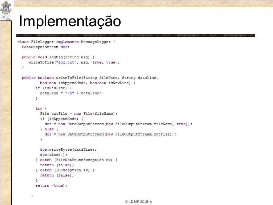 Implementação ConcreteImplementor: Implementa a interface de Implementor e define. * sua implementação concreta.