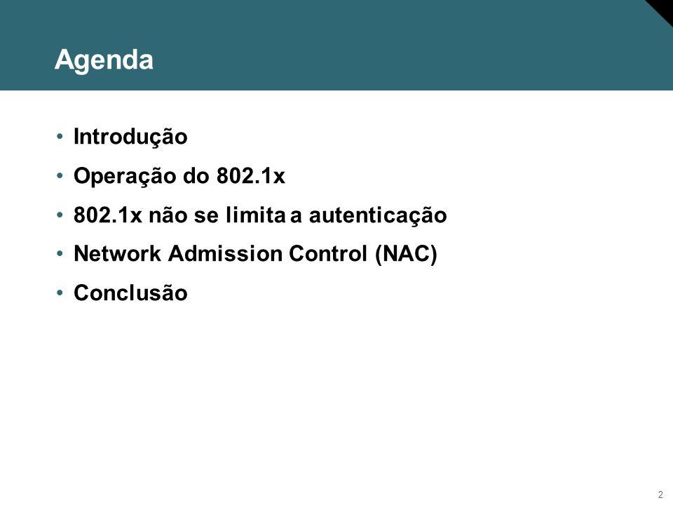 Agenda Introdução Operação do 802.1x