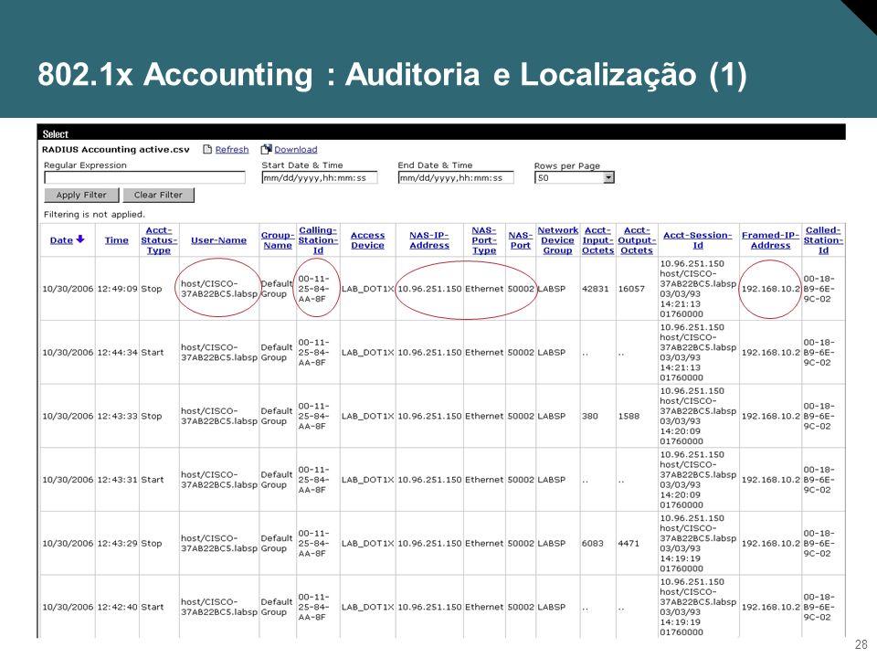 802.1x Accounting : Auditoria e Localização (1)