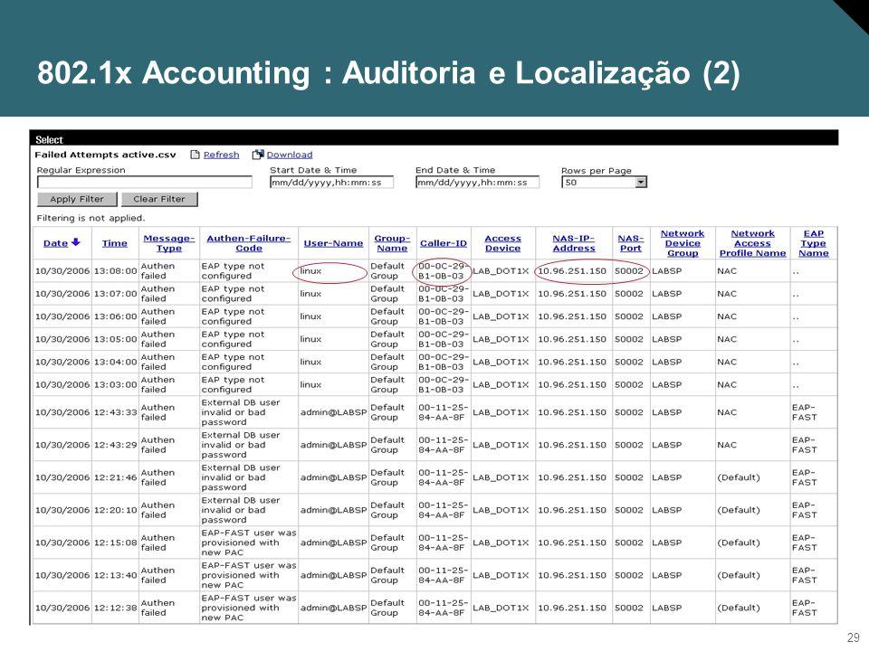 802.1x Accounting : Auditoria e Localização (2)