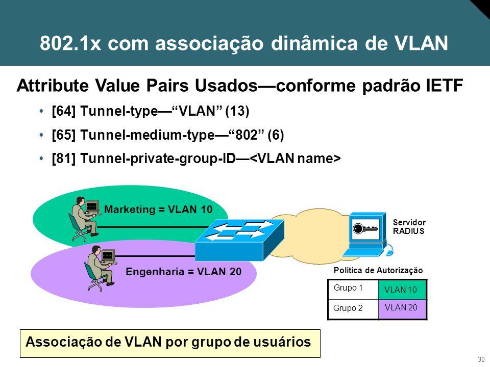 802.1x com associação dinâmica de VLAN