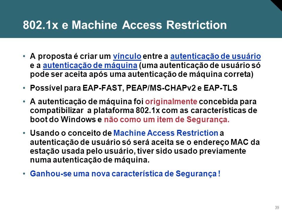 802.1x e Machine Access Restriction