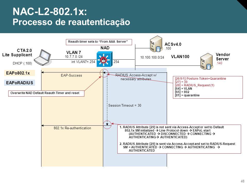 NAC-L2-802.1x: Processo de reautenticação