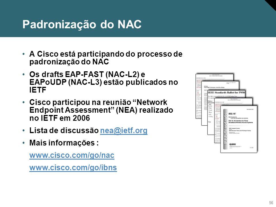 Padronização do NAC A Cisco está participando do processo de padronização do NAC.
