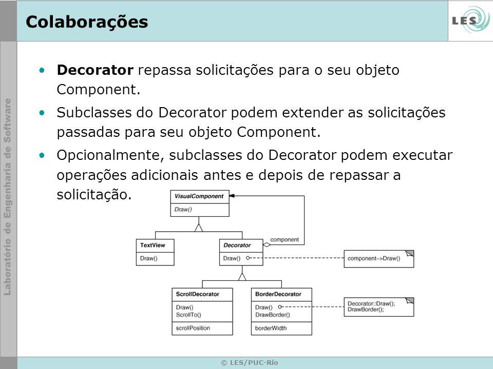 Colaborações Decorator repassa solicitações para o seu objeto Component.