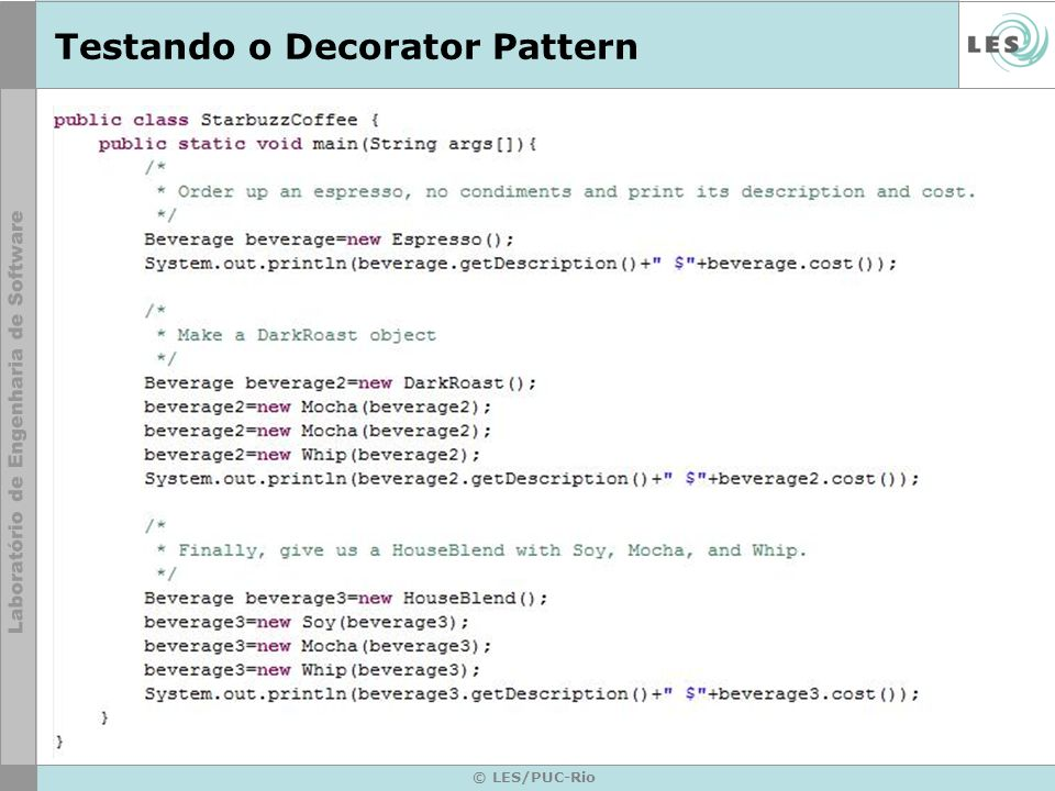 Testando o Decorator Pattern