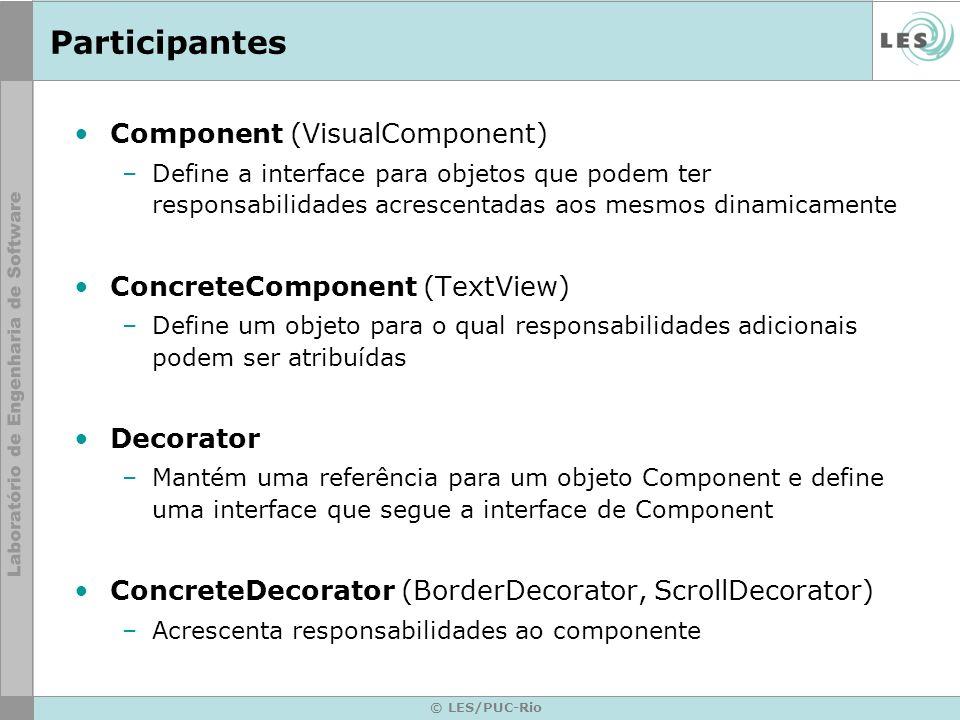 Participantes Component (VisualComponent) ConcreteComponent (TextView)