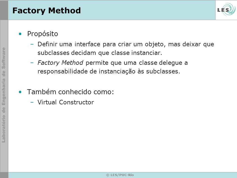 Factory Method Propósito Também conhecido como: