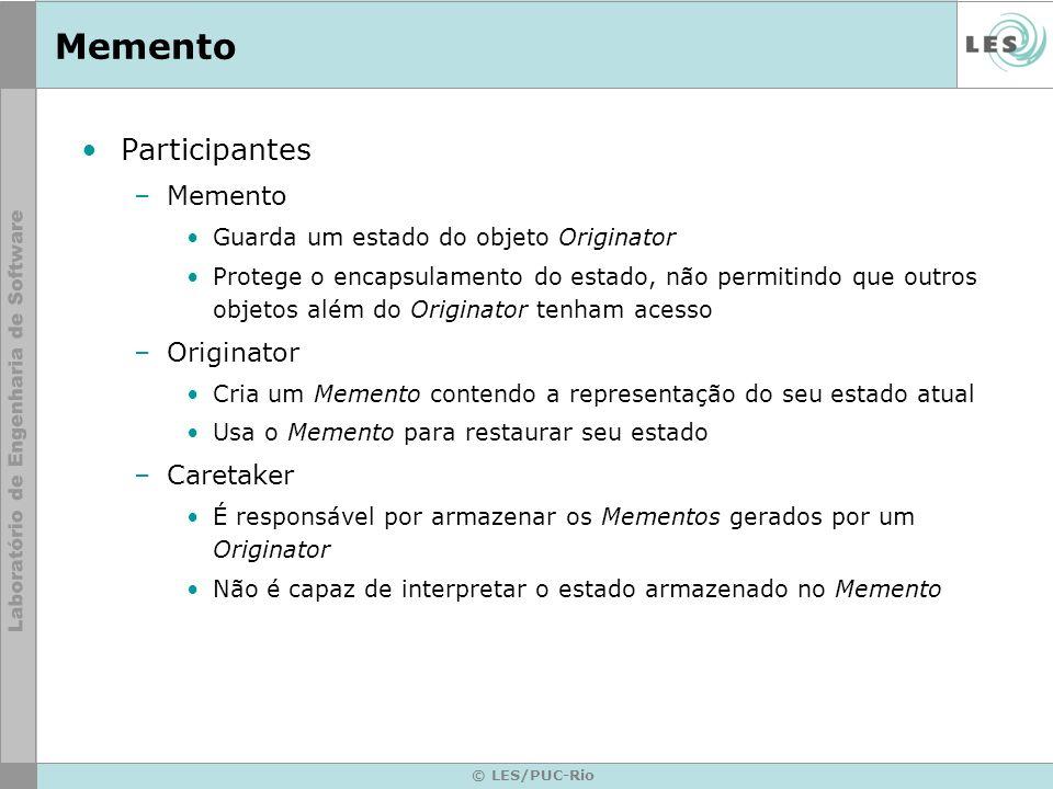 Memento Participantes Memento Originator Caretaker