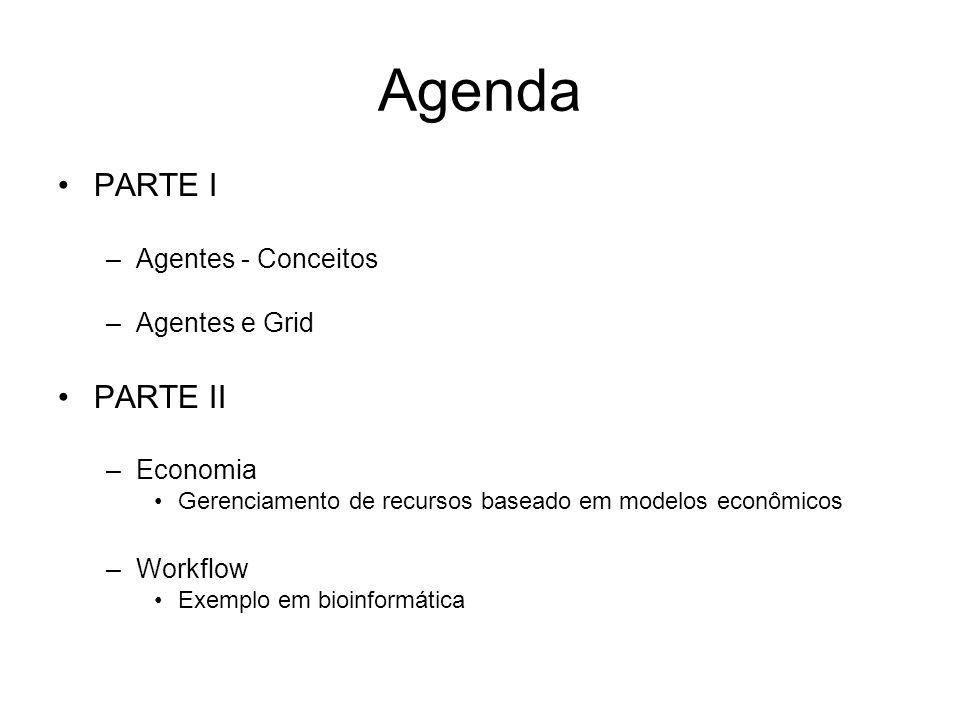 Agenda PARTE I PARTE II Agentes - Conceitos Agentes e Grid Economia