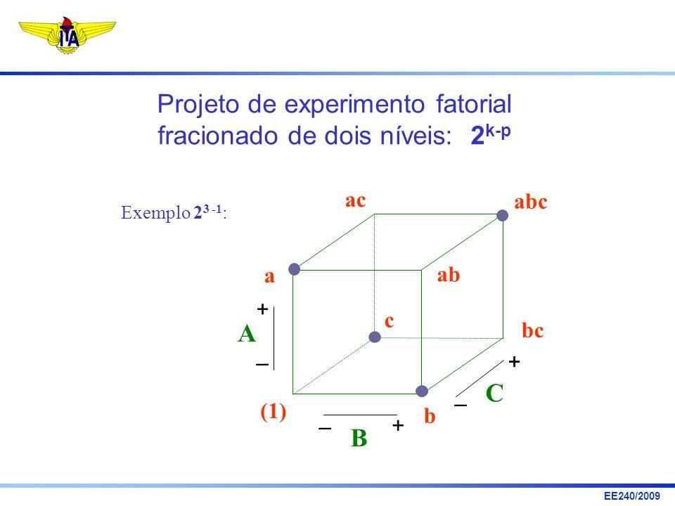 Projeto de experimento fatorial fracionado de dois níveis: 2k-p